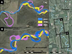 Mobilité de la rivière identifiée lors de l'analyse historique